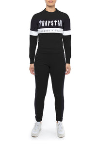 Womens Decoded Mesh Panel Crewneck Tracksuit - Black/White
