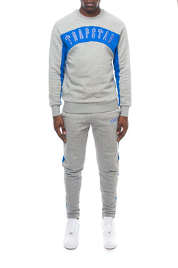 3D Embroidered Irongate Arch Panel Crewneck Tracksuit - Marl Grey/Cobalt Blue