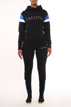 Load image into Gallery viewer, Womens Embroidered Irongate Panel Tracksuit - Black/Blue/White