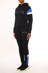Womens Embroidered Irongate Panel Tracksuit - Black/Blue/White