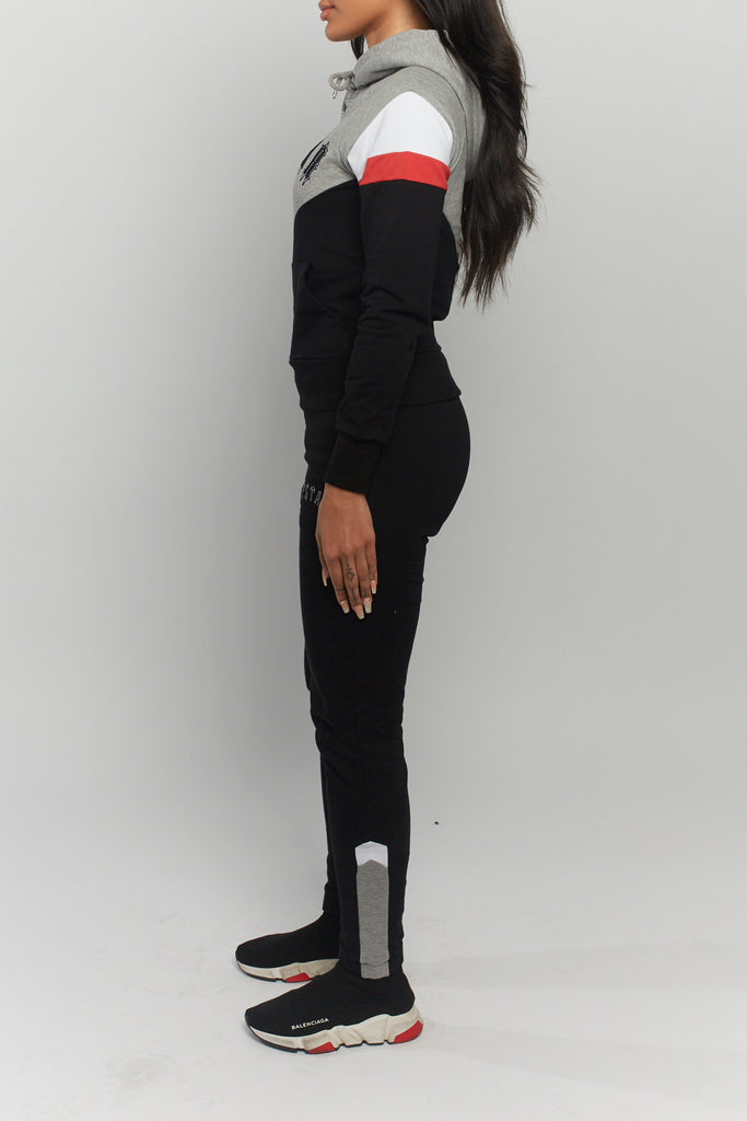 Women's V-Block Tracksuit - Black/Grey/Red