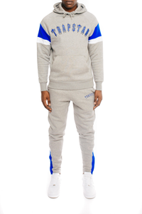 3D Embroidered Irongate Arch Tracksuit - Marl Grey/Cobalt Blue
