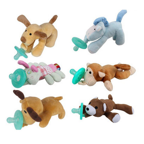 Plush Animal Buddy With Pacifier (6 Different Animals)