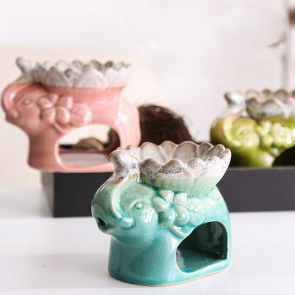 Ice Crack Lotus Elephant Oil Burner-ToShay.org