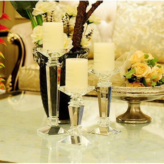 Crystal Glass Candle Stands-ToShay.org