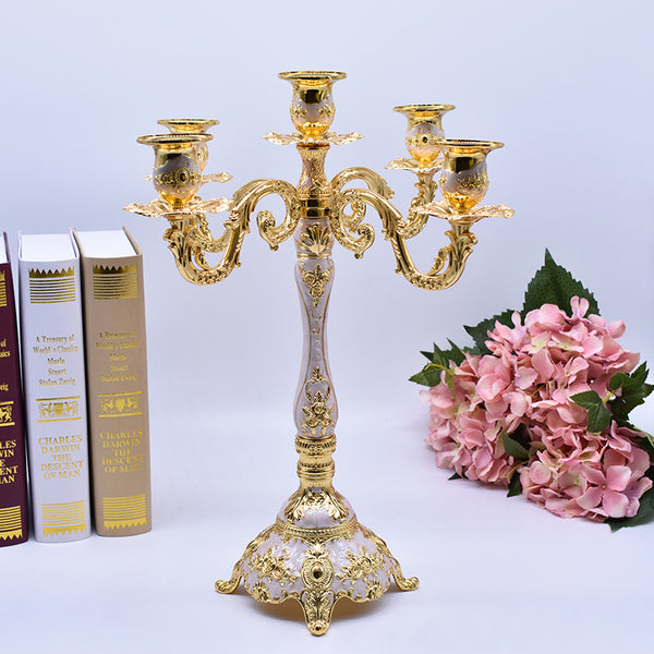 White Gold 5 Arms Candelabra-ToShay.org