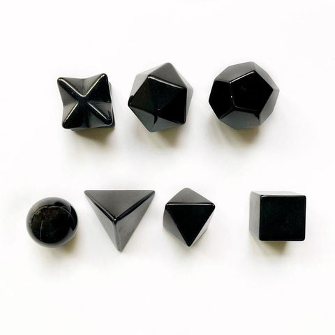 Black Obsidian Platonic Solids-ToShay.org