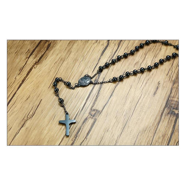 Black Steel Rosary Beads-ToShay.org