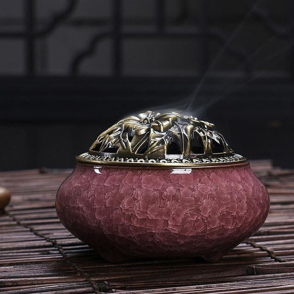 Crackle Glaze Incense Burner-ToShay.org