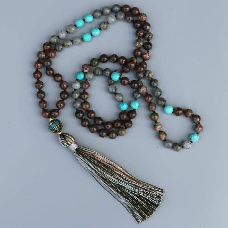 Flower Onyx and Labradorite Tassels Necklaces-ToShay.org