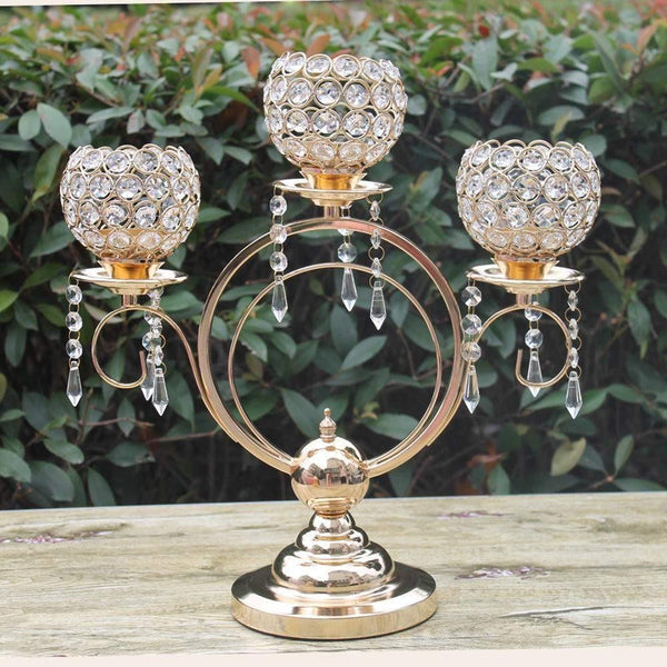 Gold Crystal Candle Holder-ToShay.org