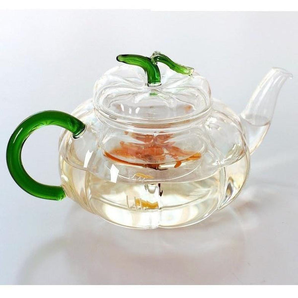 Green Leaves Pumpkin Glass Teapot-ToShay.org