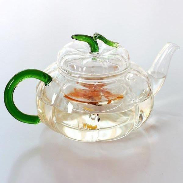 Green Leaves Pumpkin Glass Teapot-Teapot-ToShay.org