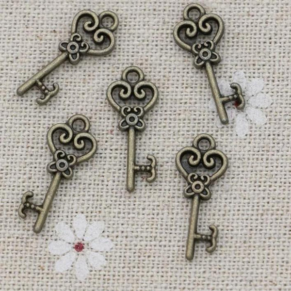 Bronze Heart Key Charms-ToShay.org
