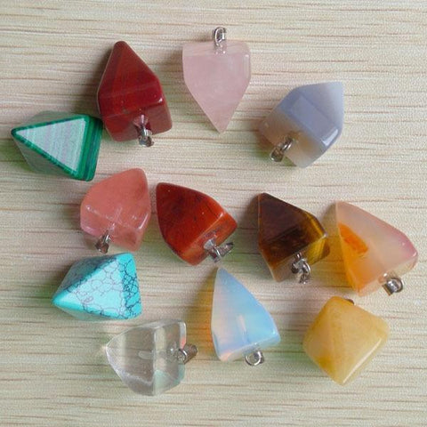 Mixed Stone Pyramid Pendants-ToShay.org
