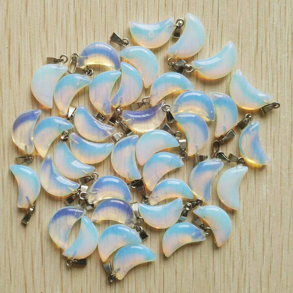 Opal Crescent Moon Pendants-ToShay.org