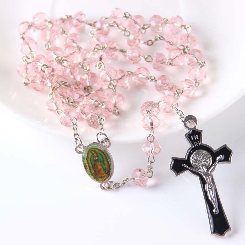 Pink Crystal Rosary Beads-ToShay.org