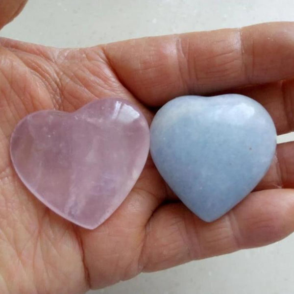 Pink Quartz and Celestite Hearts-ToShay.org