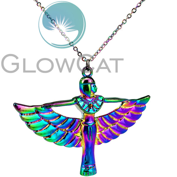 Rainbow Isis Winged Pendant Necklace-ToShay.org