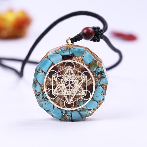 Blue Turquoise Energy Pendant Necklace-ToShay.org