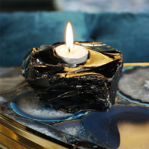 Obsidian Candle Holders-ToShay.org