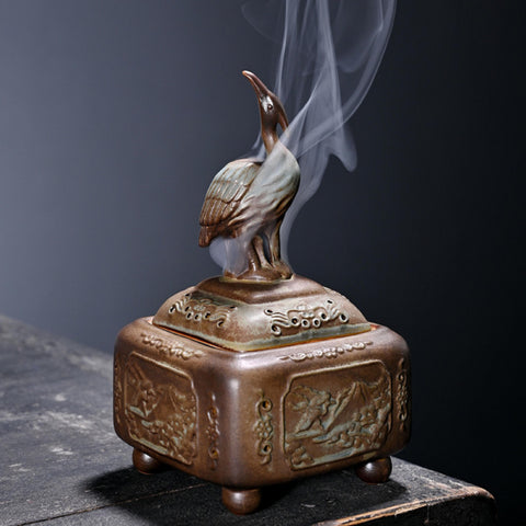 Red Crowned Crane Incense Burner-ToShay.org