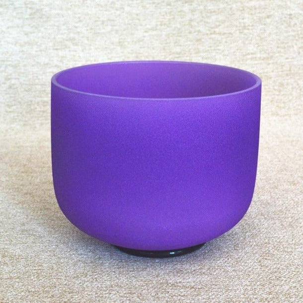 C D E F G A B Note Purple Frosted Crystal Singing Bowls-ToShay.org