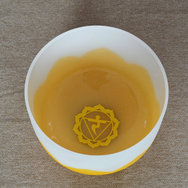 C D E F G A B Note Yellow Lotus Frosted Crystal Singing Bowls-ToShay.org