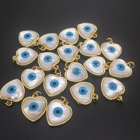 Blue Evil Eyes Heart Pendants-ToShay.org