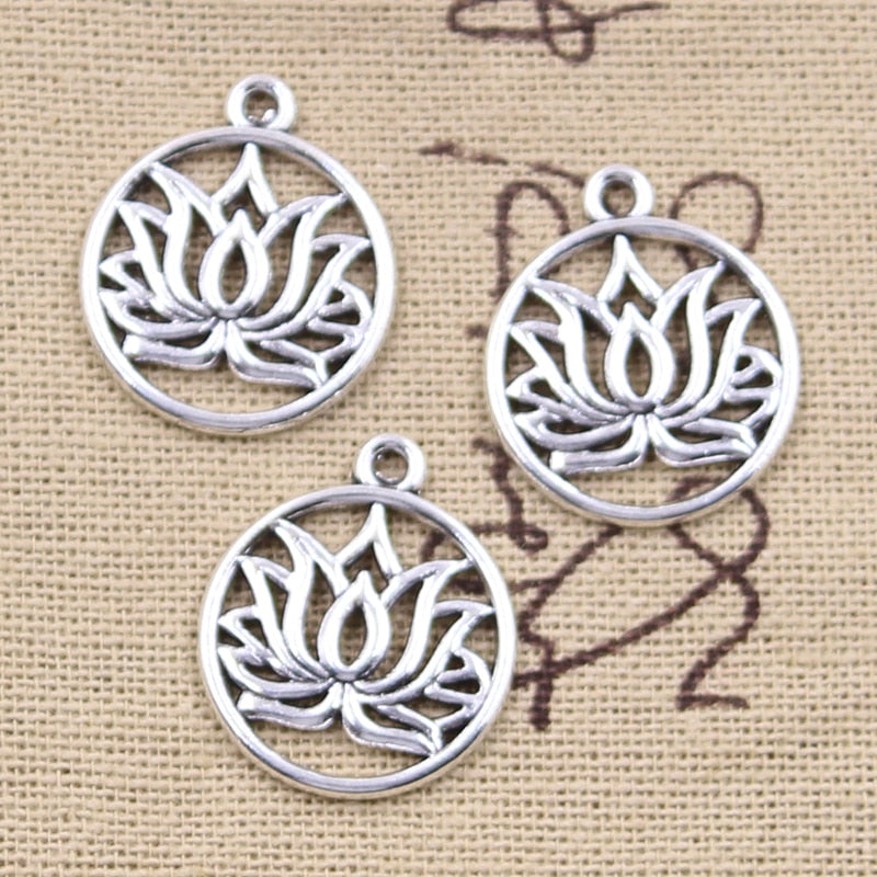 Silver Lotus Flower Charms-ToShay.org