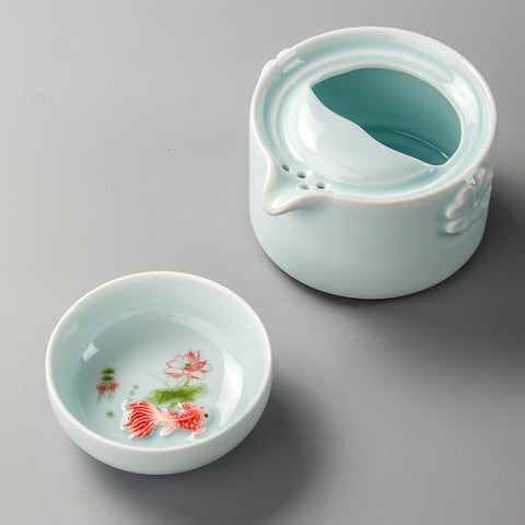 Fish Celadon Travel Tea Set-ToShay.org