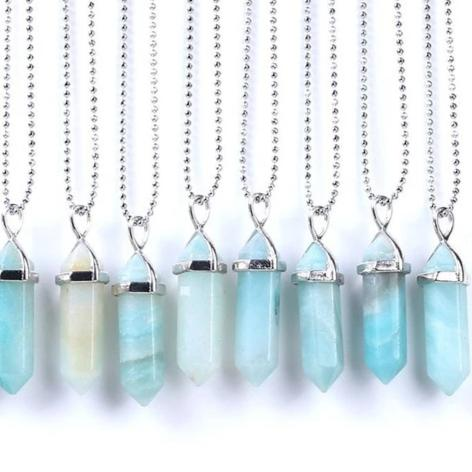 Blue Amazonite Stone Pendants-ToShay.org
