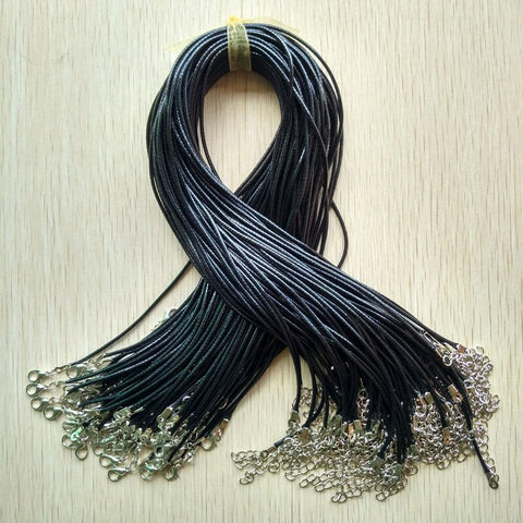Black Wax Leather Cord Necklaces-ToShay.org