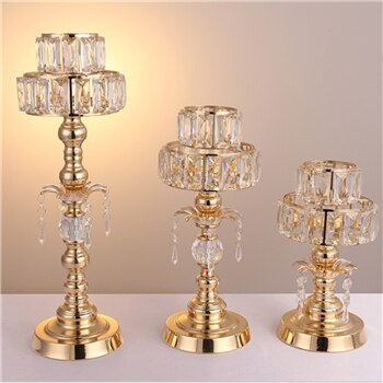 Gold Crystal Candle Stands-ToShay.org