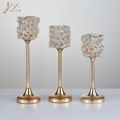 Gold Stem Crystal Candle Stand-ToShay.org