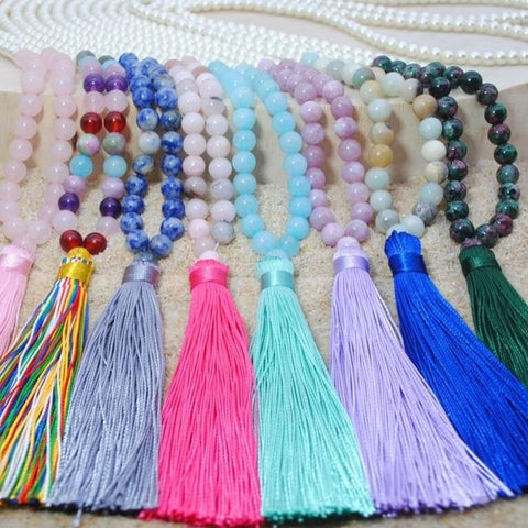 Crystal Bead Tassel Necklace-ToShay.org