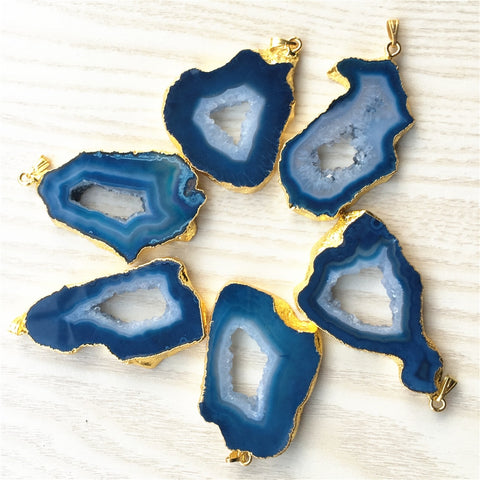 Blue Agate Geode Druzy Pendants-ToShay.org