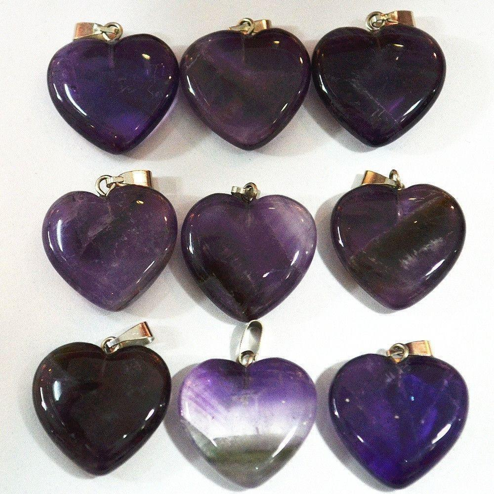 Purple Quartz Heart Pendants-ToShay.org