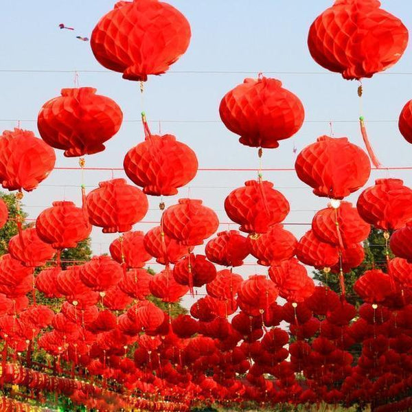 Red Chinese Honeycomb Lanterns-ToShay.org