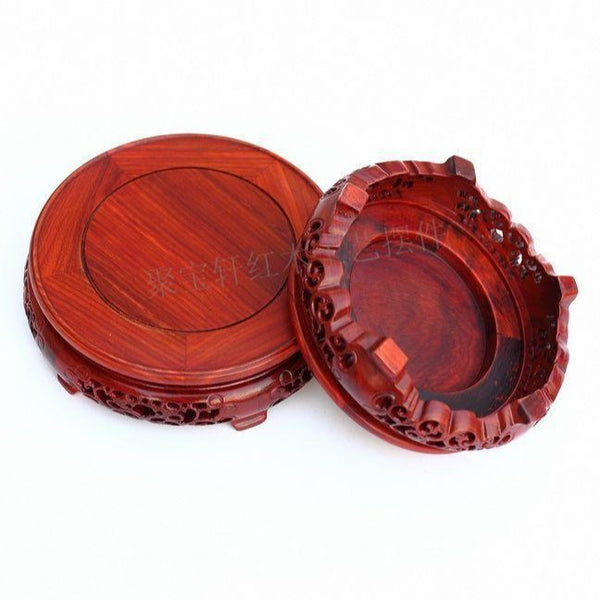 Redwood Carved Round Base-ToShay.org