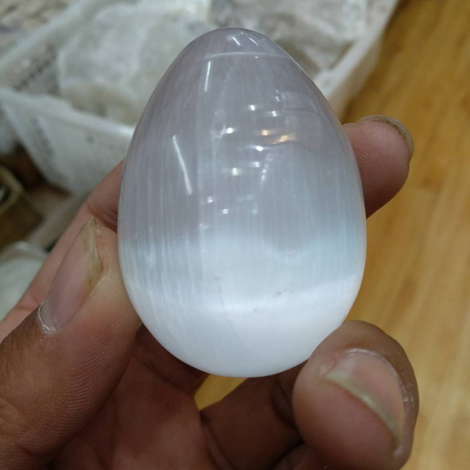 Selenite Satin Crystal Egg-ToShay.org