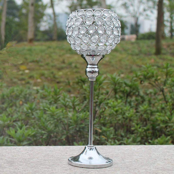 Silver Crystal Candle Stands-ToShay.org