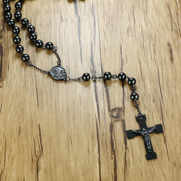 Steel Black Rosary Beads-ToShay.org