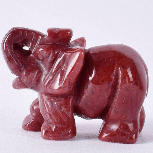 Strawberry Quartz Elephant Statue-ToShay.org