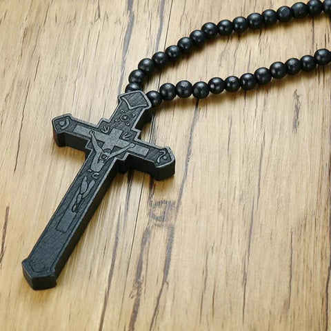 Wood Cross Bead Chain-Pendant-ToShay.org
