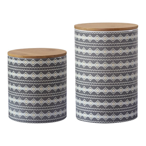 Gray Aztec Canister Set