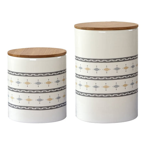 Cream Aztec Canister Set