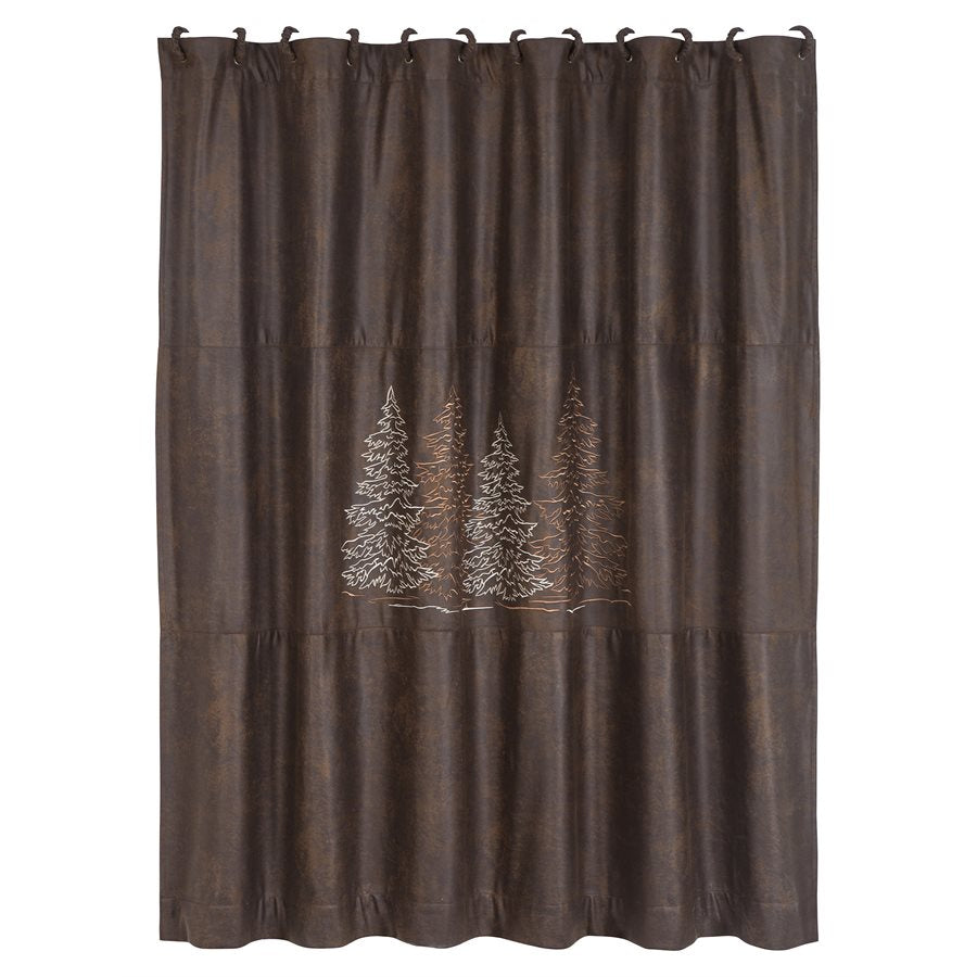 Embroidered Trees Shower Curtain