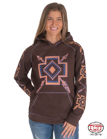 Chocolate Tribal Design Fleece Hoodie
