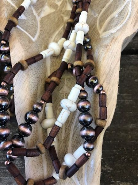 Ivory-Copper-Wood Beads Necklace